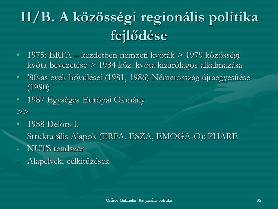 Csűrös Gabriella_Regionális politika32 II/B. A közösségi regionális politika fejlődése 1975: ERFA – kezdetben nemzeti kvóták > 1979 közösségi kvóta be