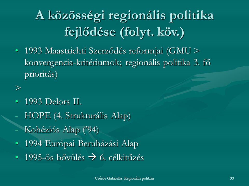 Csűrös Gabriella_Regionális politika33 A közösségi regionális politika fejlődése (folyt. köv.) 1993 Maastrichti Szerződés reformjai (GMU > konvergenci
