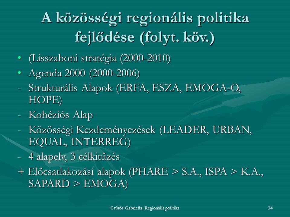 Csűrös Gabriella_Regionális politika34 A közösségi regionális politika fejlődése (folyt. köv.) (Lisszaboni stratégia (2000-2010)(Lisszaboni stratégia