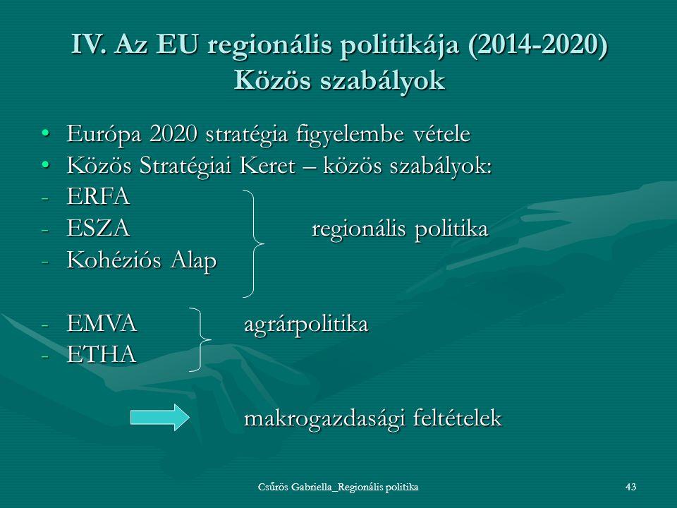 Csűrös Gabriella_Regionális politika43 IV. Az EU regionális politikája (2014-2020) Közös szabályok Európa 2020 stratégia figyelembe vételeEurópa 2020