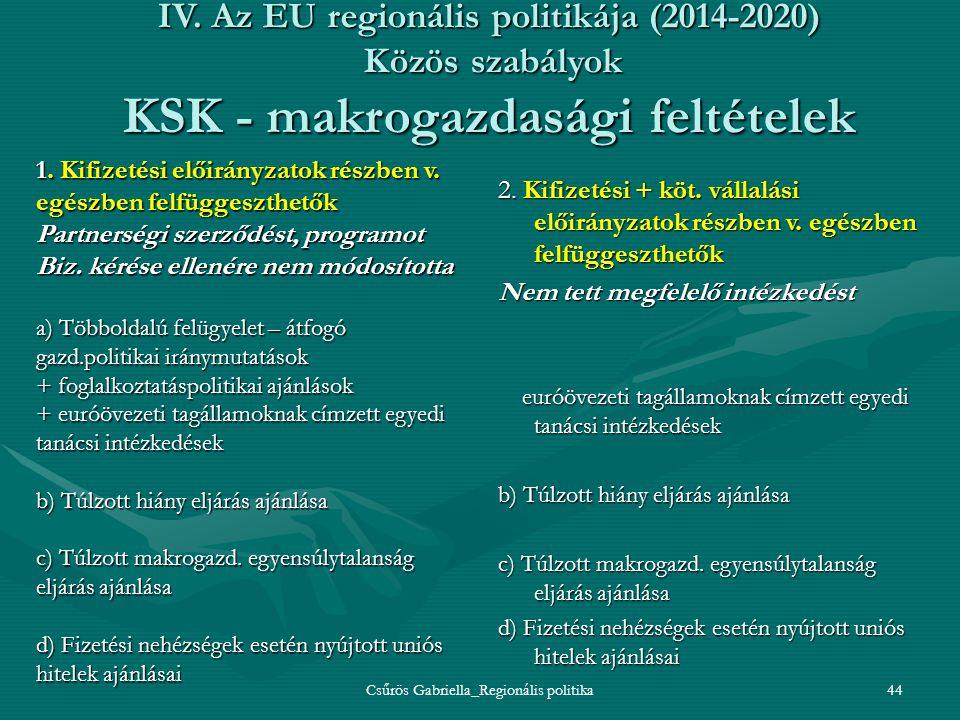 Csűrös Gabriella_Regionális politika44 IV. Az EU regionális politikája (2014-2020) Közös szabályok KSK - makrogazdasági feltételek 2. Kifizetési + köt