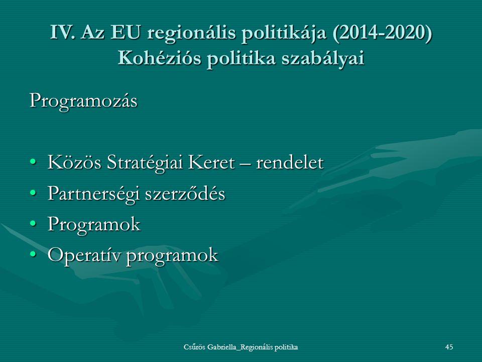 Csűrös Gabriella_Regionális politika45 IV. Az EU regionális politikája (2014-2020) Kohéziós politika szabályai Programozás Közös Stratégiai Keret – re