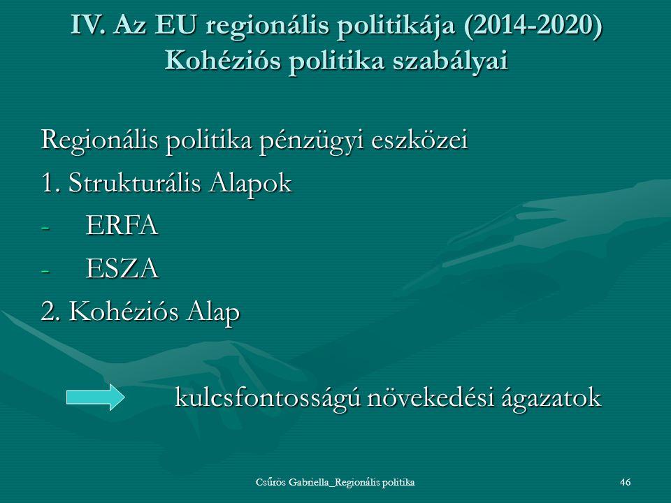 Csűrös Gabriella_Regionális politika46 IV. Az EU regionális politikája (2014-2020) Kohéziós politika szabályai Regionális politika pénzügyi eszközei 1