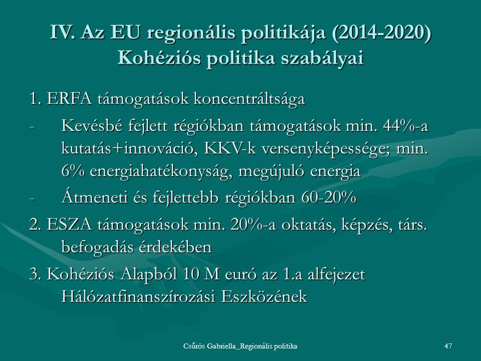 Csűrös Gabriella_Regionális politika47 IV. Az EU regionális politikája (2014-2020) Kohéziós politika szabályai 1. ERFA támogatások koncentráltsága -Ke