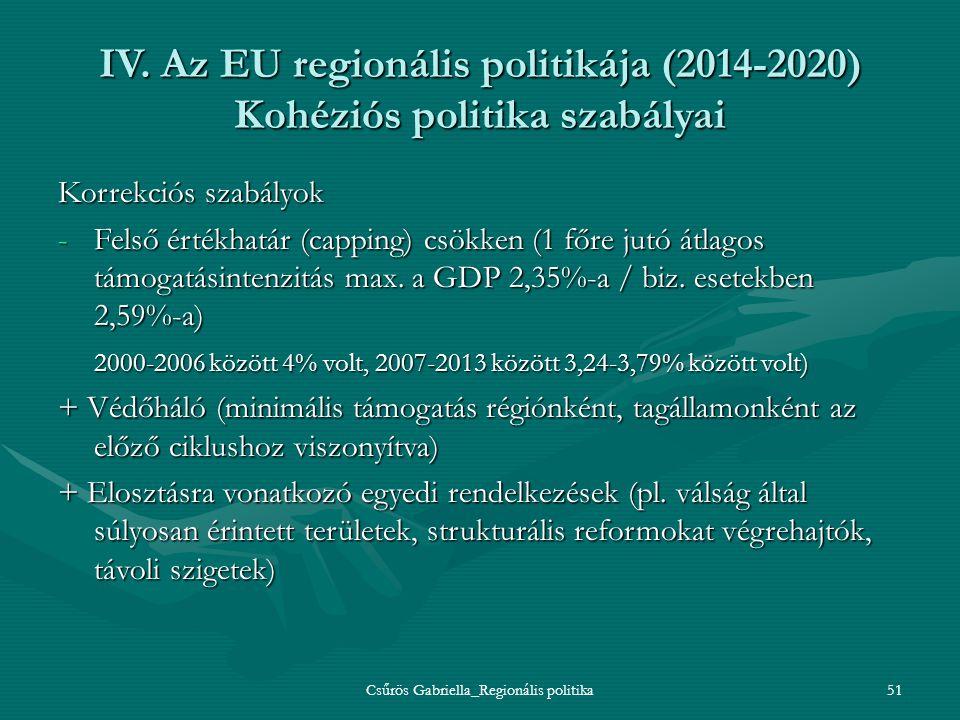 Csűrös Gabriella_Regionális politika51 IV. Az EU regionális politikája (2014-2020) Kohéziós politika szabályai Korrekciós szabályok -Felső értékhatár