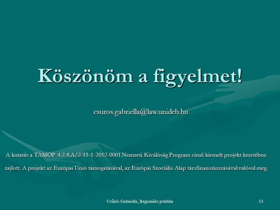 Csűrös Gabriella_Regionális politika53 Köszönöm a figyelmet! csuros.gabriella@law.unideb.hu A kutatás a TÁMOP 4.2.4.A/2-11-1-2012-0001 Nemzeti Kiválós