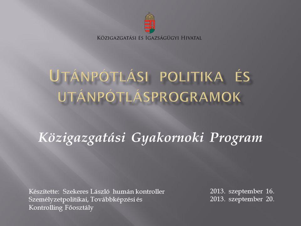 Közigazgatási Gyakornoki Program Készítette: Szekeres László humán kontroller Személyzetpolitikai, Továbbképzési és Kontrolling Főosztály 2013. szepte