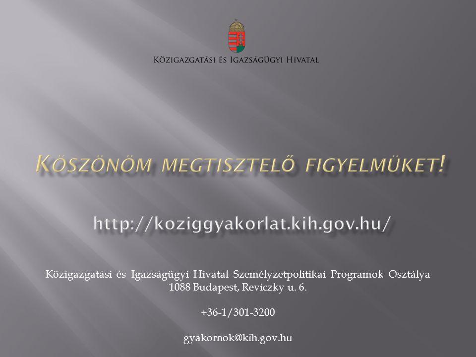 Közigazgatási és Igazságügyi Hivatal Személyzetpolitikai Programok Osztálya 1088 Budapest, Reviczky u. 6. +36-1/301-3200 gyakornok@kih.gov.hu