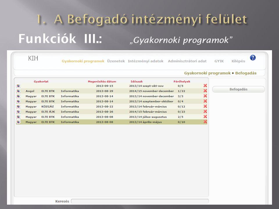 """Funkciók III.: """"Gyakornoki programok"""""""