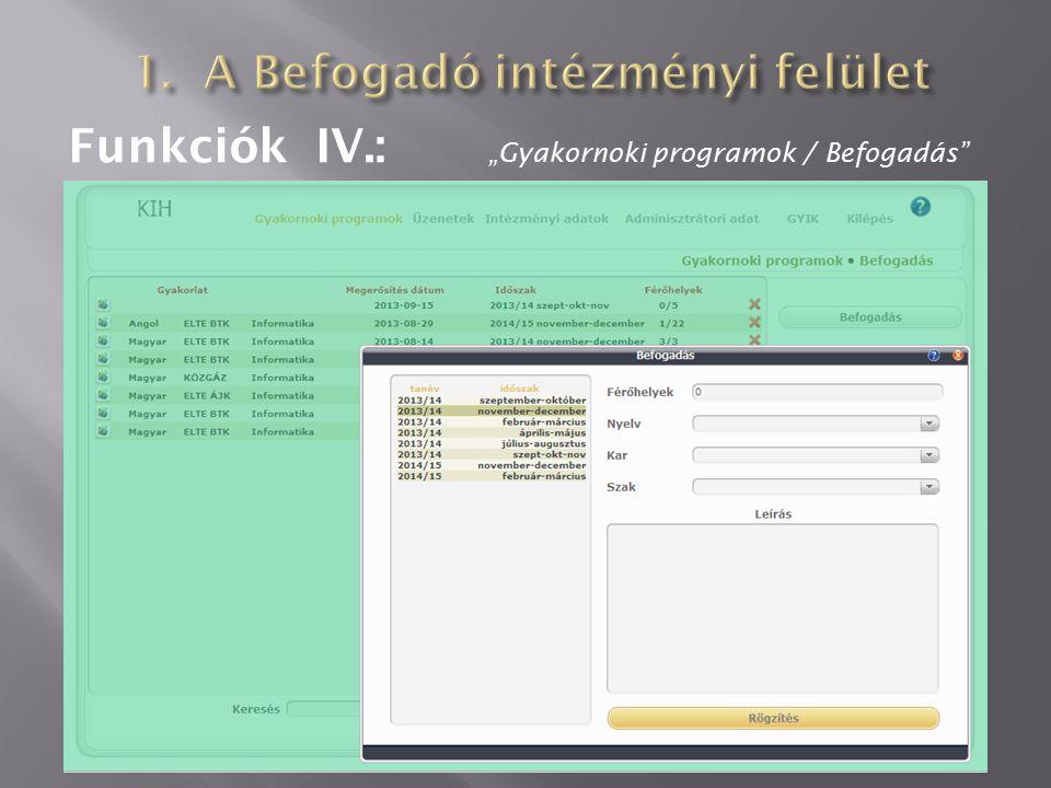"""Funkciók IV.: """"Gyakornoki programok / Befogadás"""""""