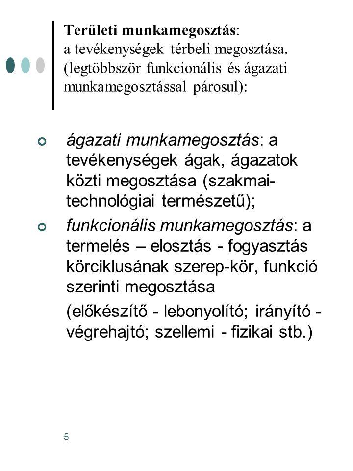 5 Területi munkamegosztás: a tevékenységek térbeli megosztása. (legtöbbször funkcionális és ágazati munkamegosztással párosul): ágazati munkamegosztás