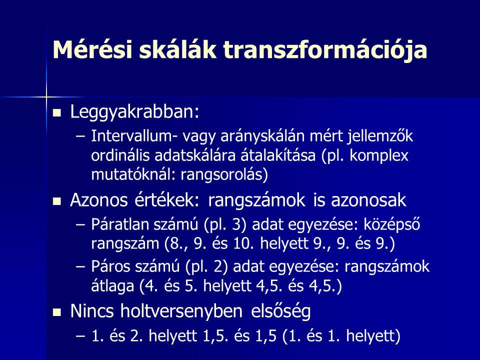 Mérési skálák transzformációja Leggyakrabban: – –Intervallum- vagy arányskálán mért jellemzők ordinális adatskálára átalakítása (pl. komplex mutatókná