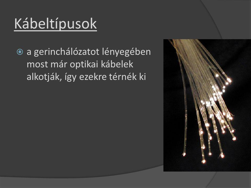 Kábeltípusok  a gerinchálózatot lényegében most már optikai kábelek alkotják, így ezekre térnék ki
