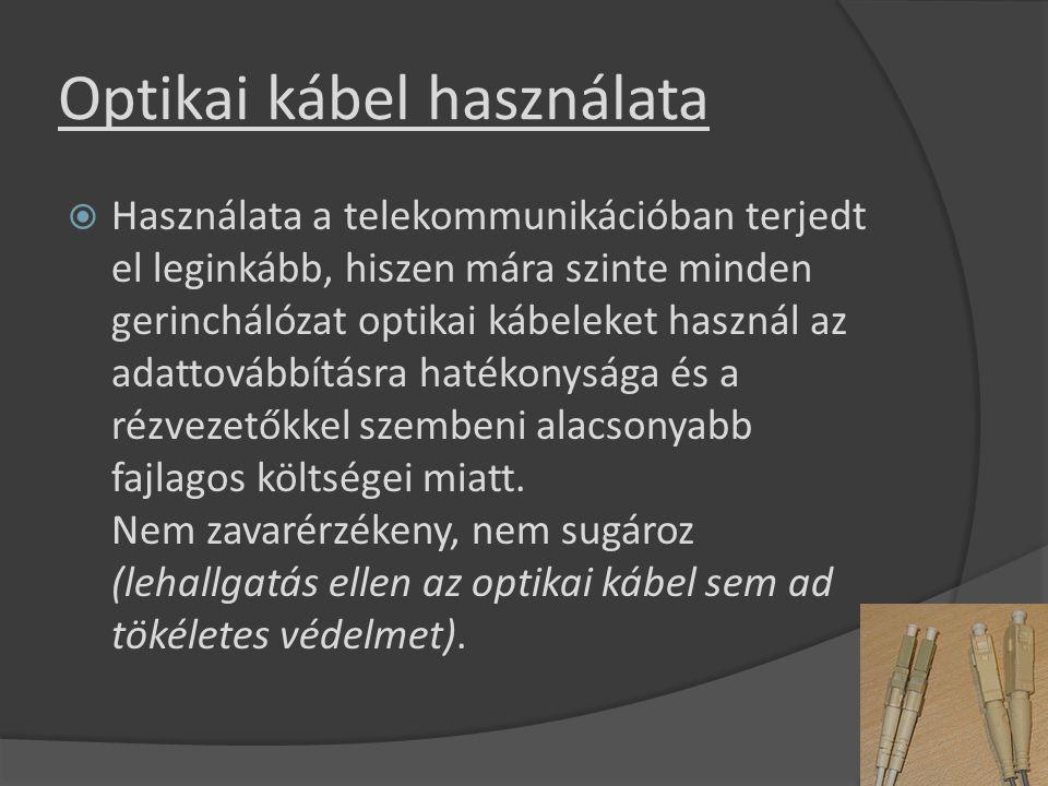 Optikai kábel használata  Használata a telekommunikációban terjedt el leginkább, hiszen mára szinte minden gerinchálózat optikai kábeleket használ az