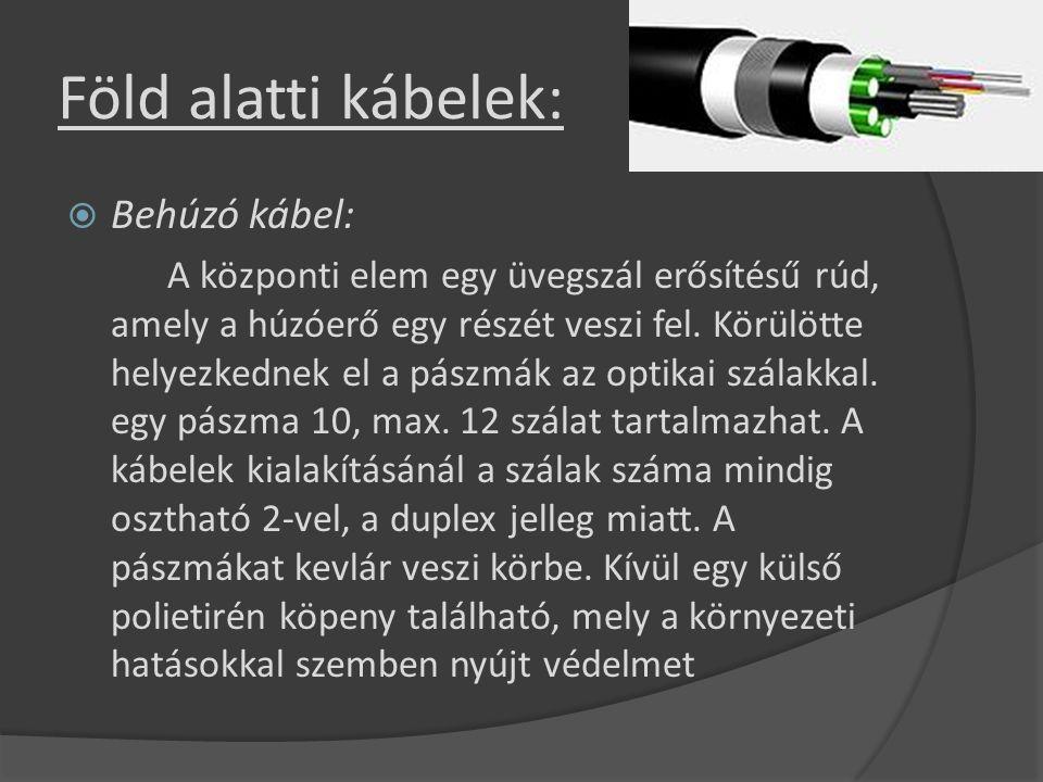 Föld alatti kábelek:  Behúzó kábel: A központi elem egy üvegszál erősítésű rúd, amely a húzóerő egy részét veszi fel. Körülötte helyezkednek el a pás