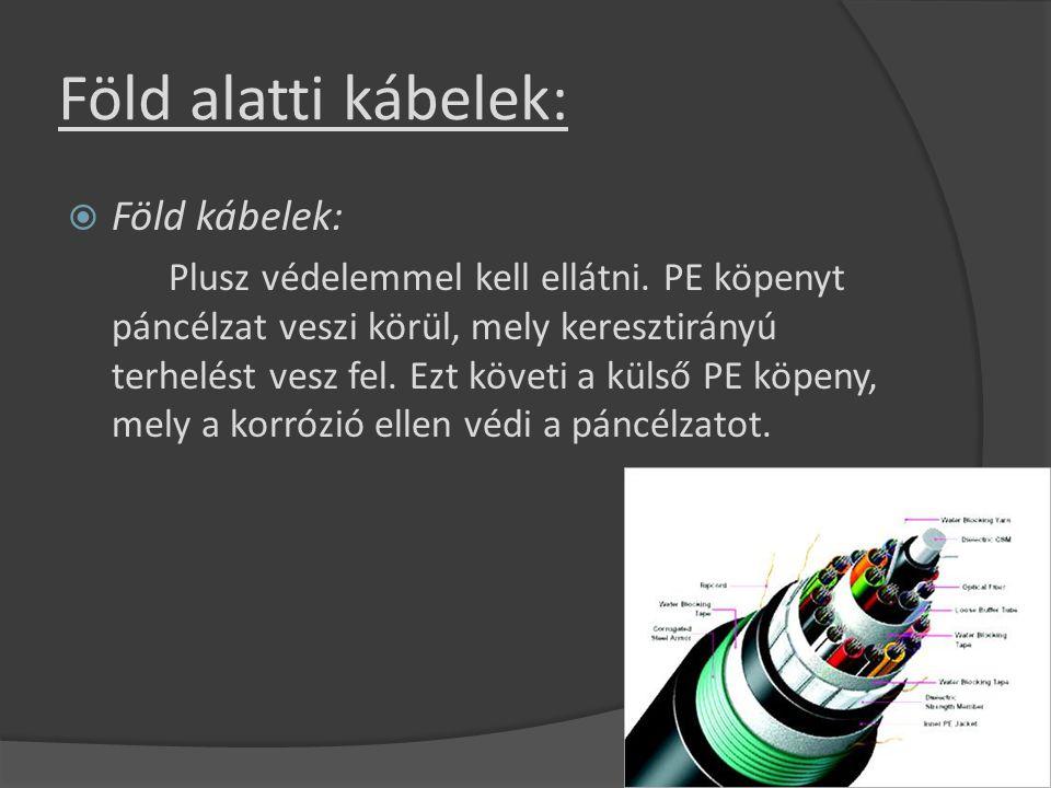 Föld alatti kábelek:  Föld kábelek: Plusz védelemmel kell ellátni. PE köpenyt páncélzat veszi körül, mely keresztirányú terhelést vesz fel. Ezt követ