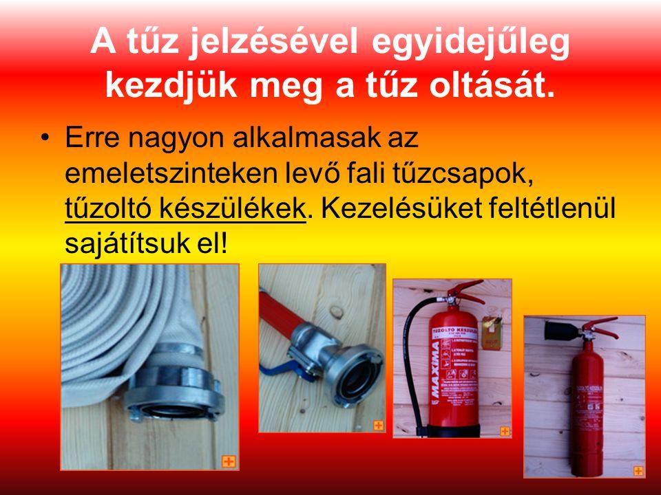 19 A tűz jelzésével egyidejűleg kezdjük meg a tűz oltását. Erre nagyon alkalmasak az emeletszinteken levő fali tűzcsapok, tűzoltó készülékek. Kezelésü