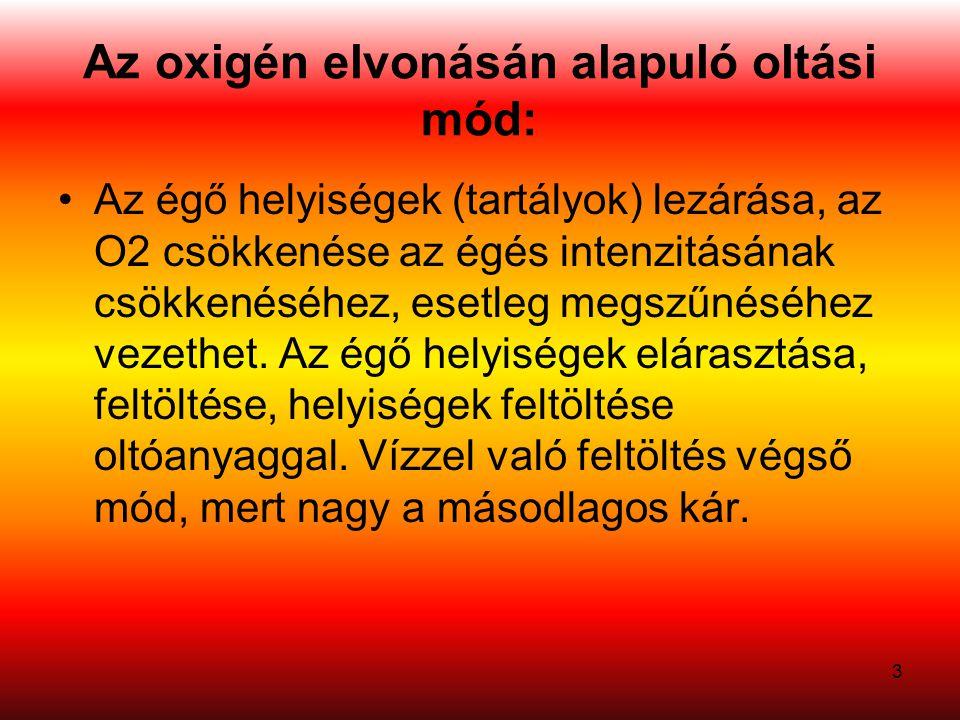 Az oxigén elvonásán alapuló oltási mód: Az égő helyiségek (tartályok) lezárása, az O2 csökkenése az égés intenzitásának csökkenéséhez, esetleg megszűn