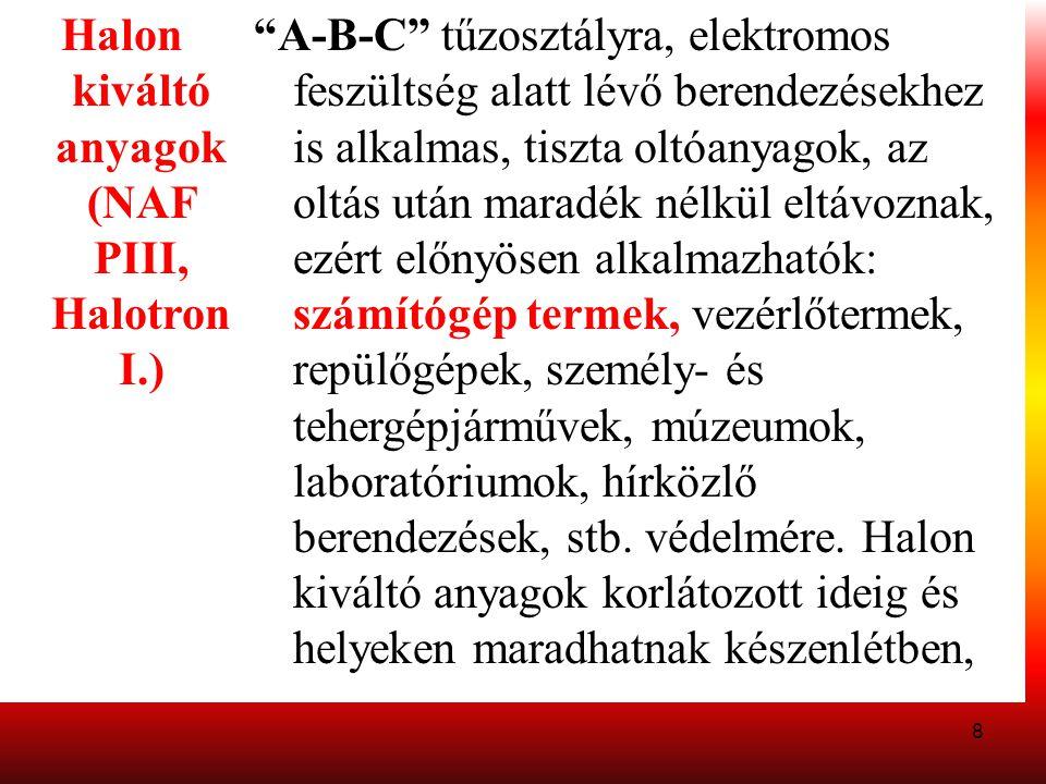 """8 Halon kiváltó anyagok (NAF PIII, Halotron I.) """"A-B-C"""" tűzosztályra, elektromos feszültség alatt lévő berendezésekhez is alkalmas, tiszta oltóanyagok"""