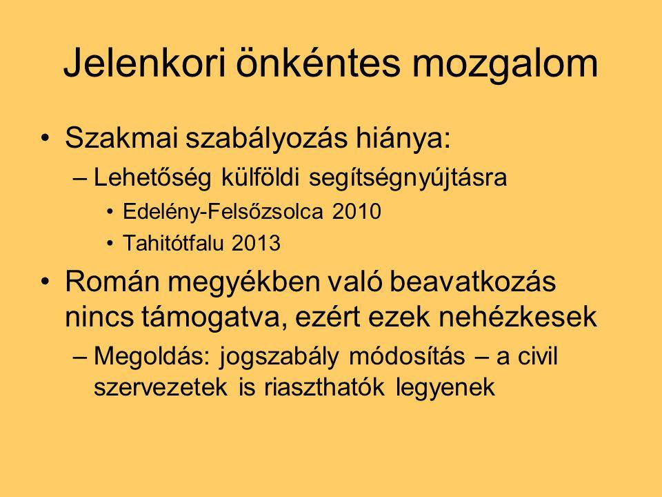 Jelenkori önkéntes mozgalom Szakmai szabályozás hiánya: –Lehetőség külföldi segítségnyújtásra Edelény-Felsőzsolca 2010 Tahitótfalu 2013 Román megyékben való beavatkozás nincs támogatva, ezért ezek nehézkesek –Megoldás: jogszabály módosítás – a civil szervezetek is riaszthatók legyenek