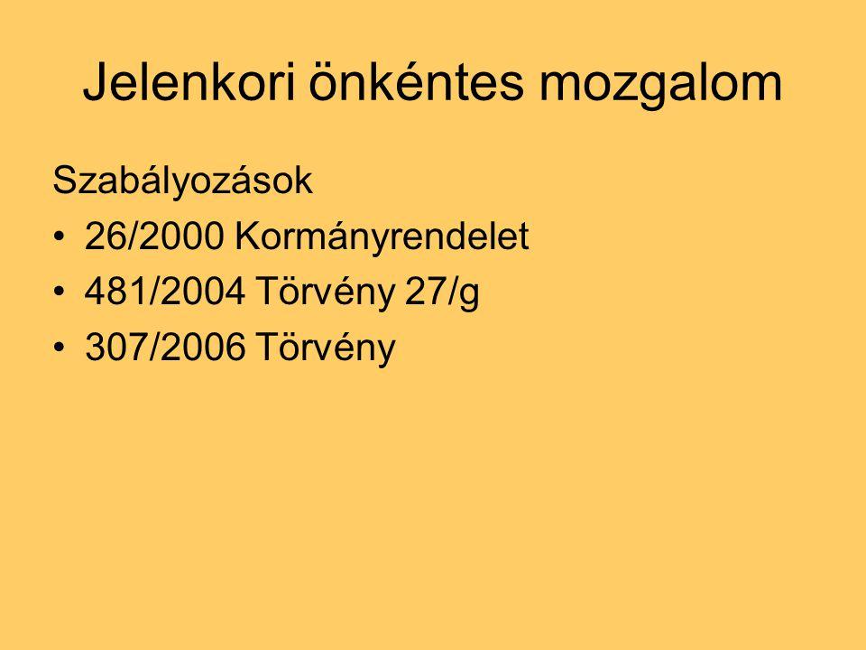 Jelenkori önkéntes mozgalom Szabályozások 26/2000 Kormányrendelet 481/2004 Törvény 27/g 307/2006 Törvény