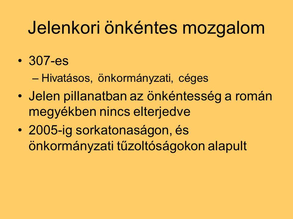Jelenkori önkéntes mozgalom 307-es –Hivatásos, önkormányzati, céges Jelen pillanatban az önkéntesség a román megyékben nincs elterjedve 2005-ig sorkatonaságon, és önkormányzati tűzoltóságokon alapult