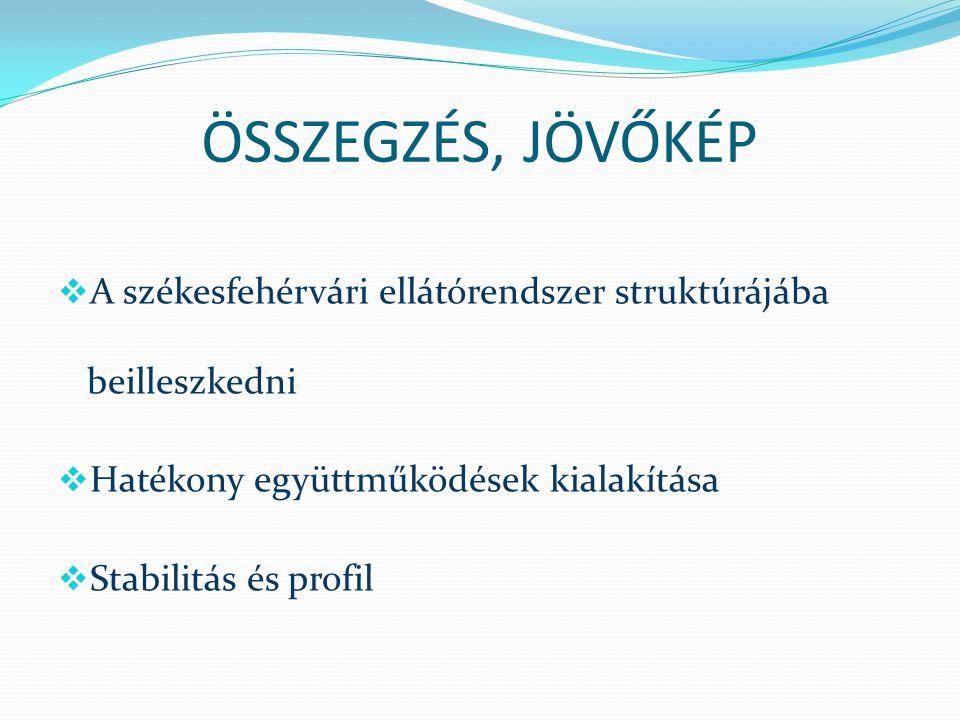 ÖSSZEGZÉS, JÖVŐKÉP  A székesfehérvári ellátórendszer struktúrájába beilleszkedni  Hatékony együttműködések kialakítása  Stabilitás és profil