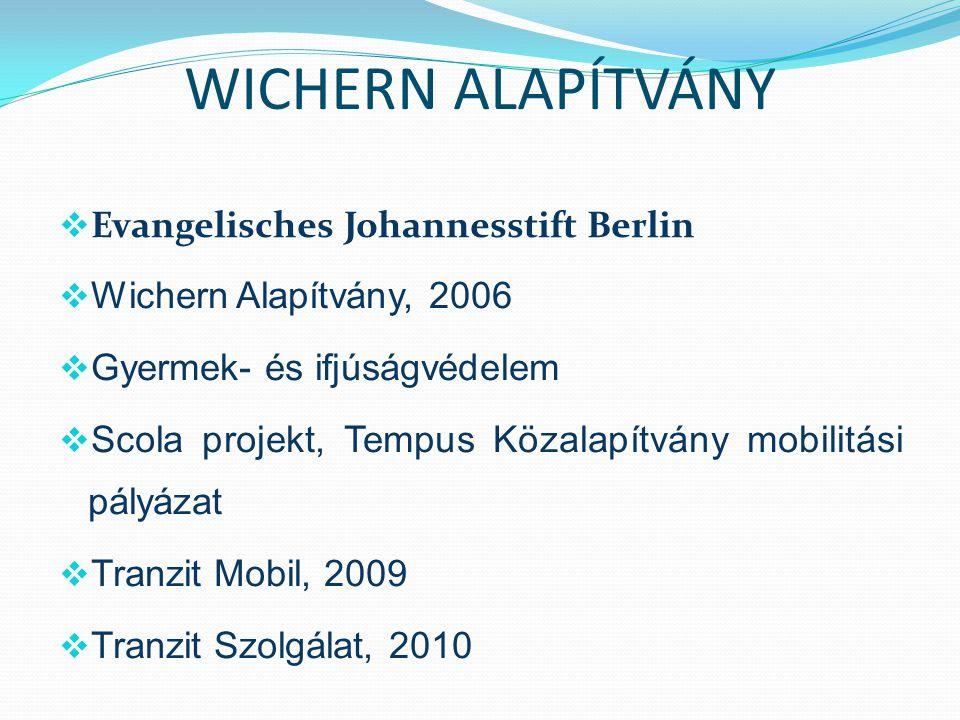 WICHERN ALAPÍTVÁNY  Evangelisches Johannesstift Berlin  Wichern Alapítvány, 2006  Gyermek- és ifjúságvédelem  Scola projekt, Tempus Közalapítvány