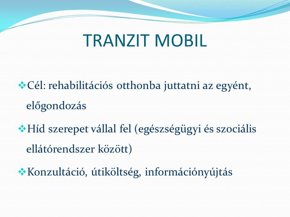 TRANZIT MOBIL  Cél: rehabilitációs otthonba juttatni az egyént, előgondozás  Híd szerepet vállal fel (egészségügyi és szociális ellátórendszer közöt