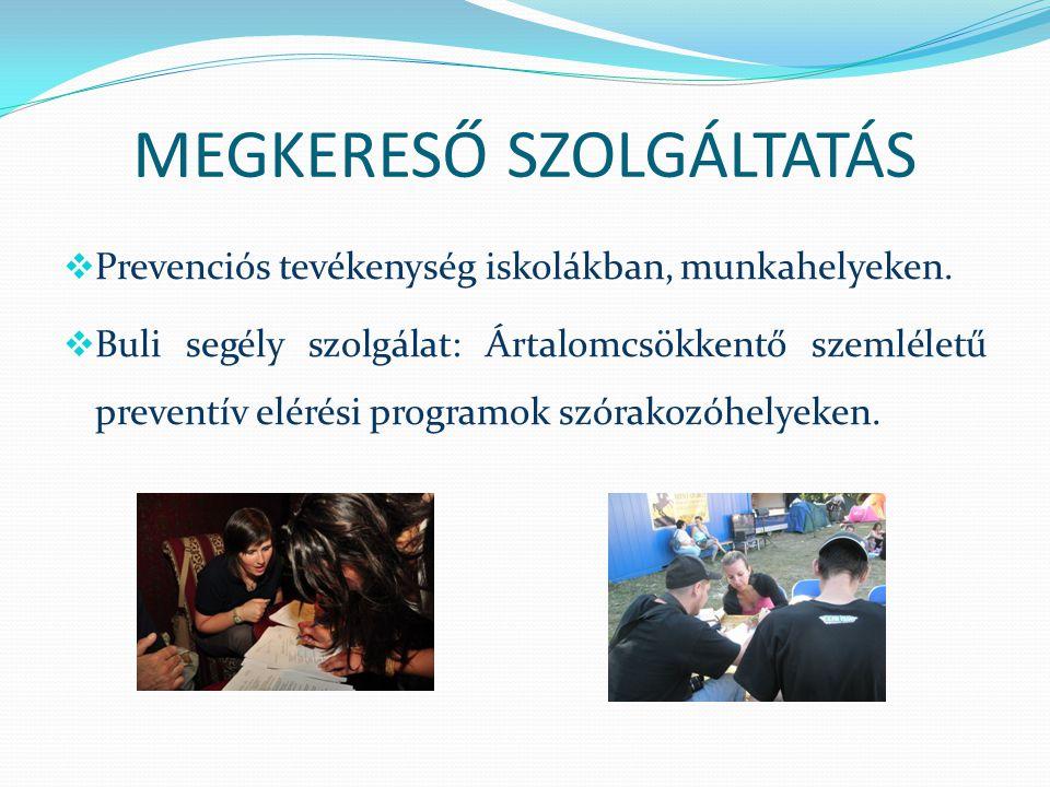 MEGKERESŐ SZOLGÁLTATÁS  Prevenciós tevékenység iskolákban, munkahelyeken.  Buli segély szolgálat: Ártalomcsökkentő szemléletű preventív elérési prog