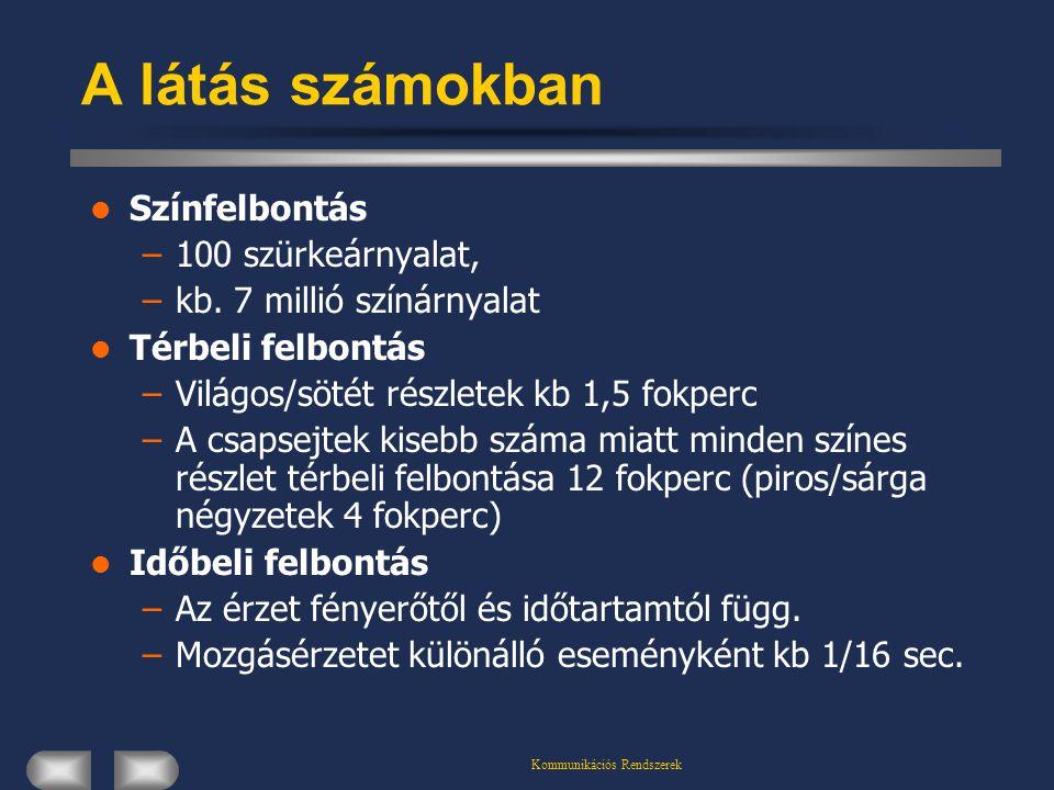 Kommunikációs Rendszerek A látás számokban Színfelbontás –100 szürkeárnyalat, –kb.
