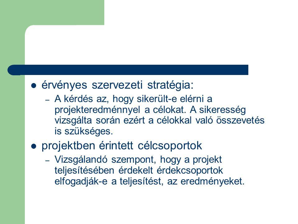 érvényes szervezeti stratégia: – A kérdés az, hogy sikerült-e elérni a projekteredménnyel a célokat. A sikeresség vizsgálta során ezért a célokkal val