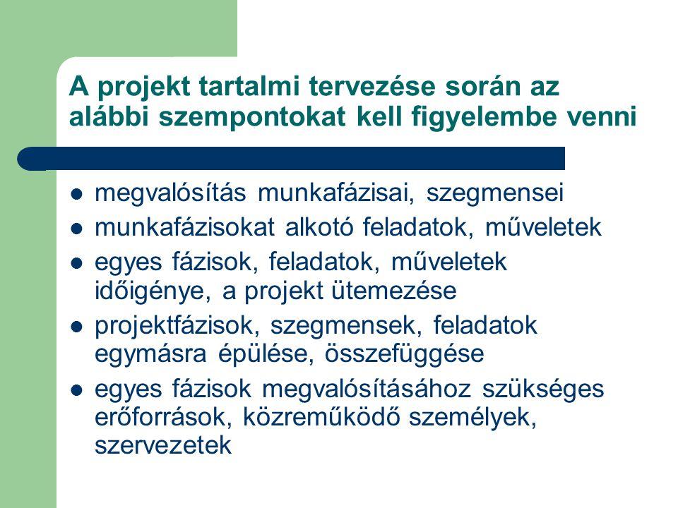 A projekt tartalmi tervezése során az alábbi szempontokat kell figyelembe venni megvalósítás munkafázisai, szegmensei munkafázisokat alkotó feladatok, műveletek egyes fázisok, feladatok, műveletek időigénye, a projekt ütemezése projektfázisok, szegmensek, feladatok egymásra épülése, összefüggése egyes fázisok megvalósításához szükséges erőforrások, közreműködő személyek, szervezetek