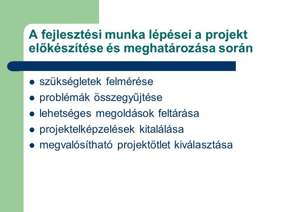A fejlesztési munka lépései a projekt előkészítése és meghatározása során szükségletek felmérése problémák összegyűjtése lehetséges megoldások feltárása projektelképzelések kitalálása megvalósítható projektötlet kiválasztása