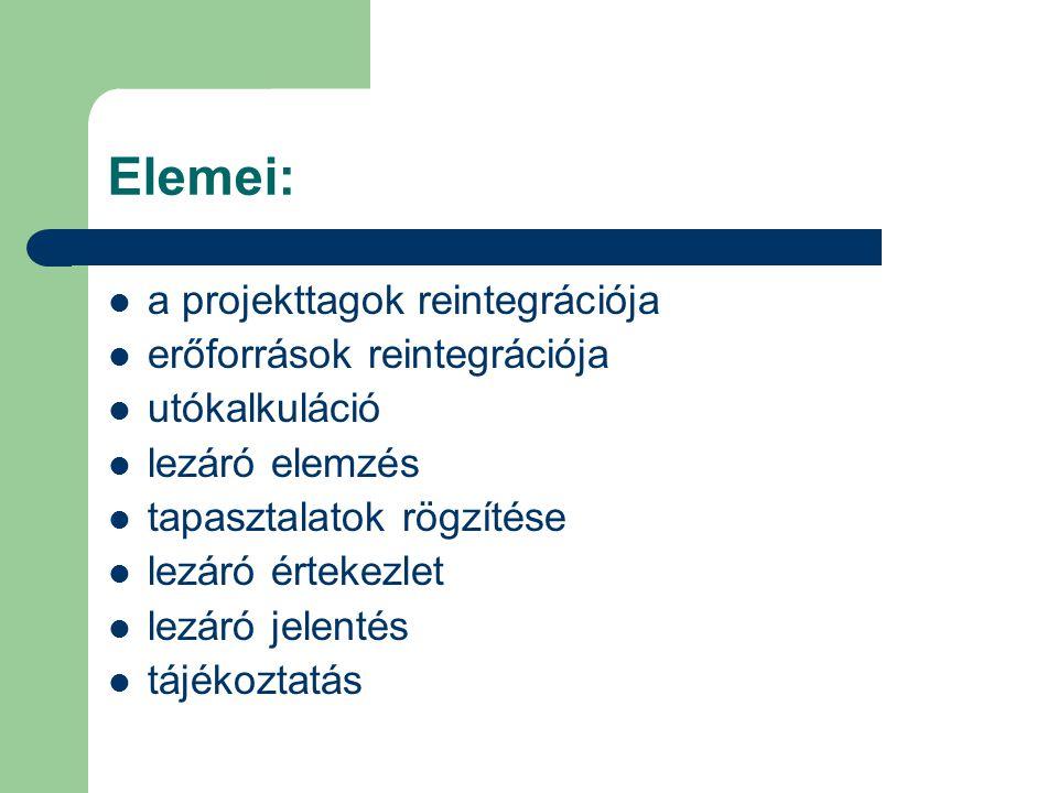 Elemei: a projekttagok reintegrációja erőforrások reintegrációja utókalkuláció lezáró elemzés tapasztalatok rögzítése lezáró értekezlet lezáró jelentés tájékoztatás