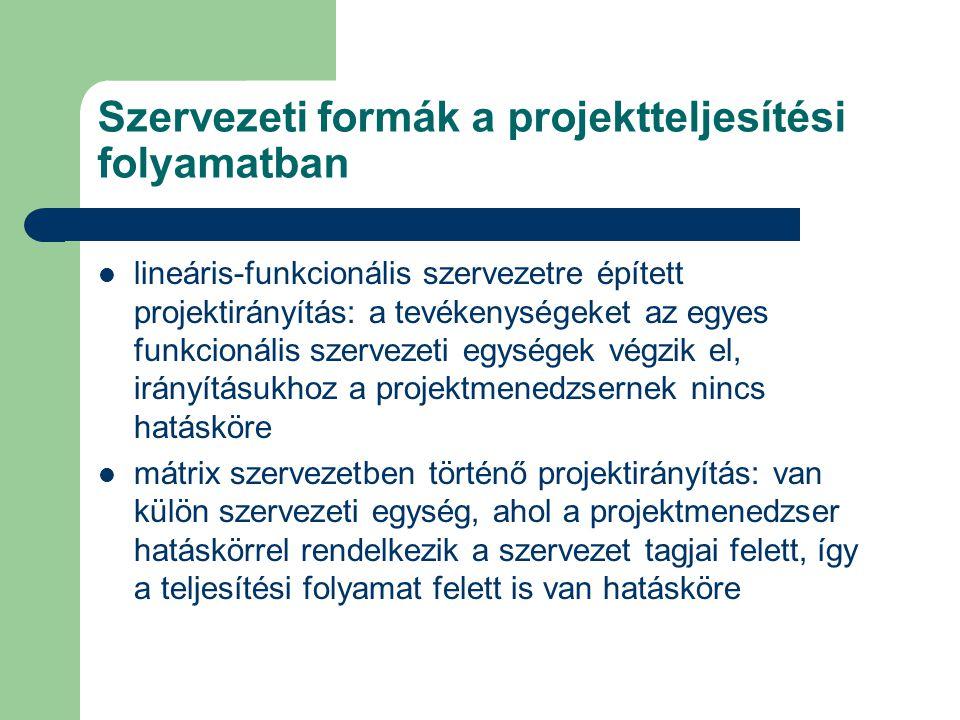 Szervezeti formák a projektteljesítési folyamatban lineáris-funkcionális szervezetre épített projektirányítás: a tevékenységeket az egyes funkcionális