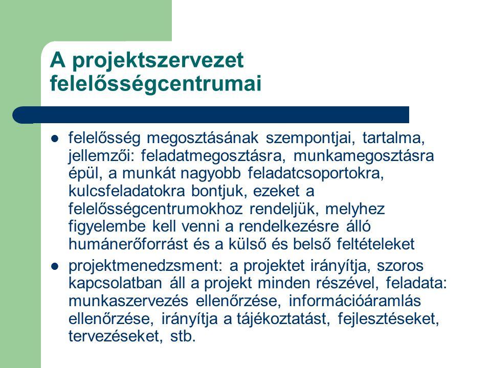 A projektszervezet felelősségcentrumai felelősség megosztásának szempontjai, tartalma, jellemzői: feladatmegosztásra, munkamegosztásra épül, a munkát nagyobb feladatcsoportokra, kulcsfeladatokra bontjuk, ezeket a felelősségcentrumokhoz rendeljük, melyhez figyelembe kell venni a rendelkezésre álló humánerőforrást és a külső és belső feltételeket projektmenedzsment: a projektet irányítja, szoros kapcsolatban áll a projekt minden részével, feladata: munkaszervezés ellenőrzése, információáramlás ellenőrzése, irányítja a tájékoztatást, fejlesztéseket, tervezéseket, stb.