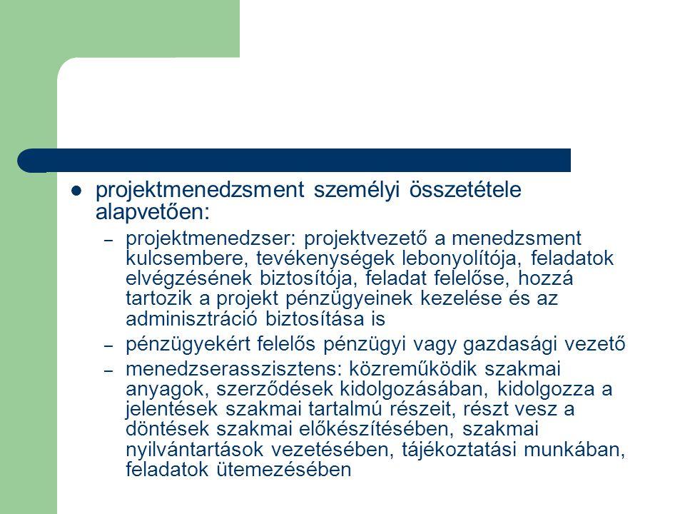 projektmenedzsment személyi összetétele alapvetően: – projektmenedzser: projektvezető a menedzsment kulcsembere, tevékenységek lebonyolítója, feladato
