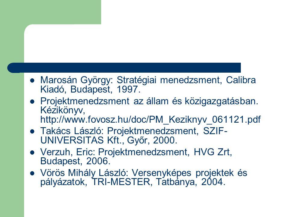 Marosán György: Stratégiai menedzsment, Calibra Kiadó, Budapest, 1997. Projektmenedzsment az állam és közigazgatásban. Kézikönyv, http://www.fovosz.hu