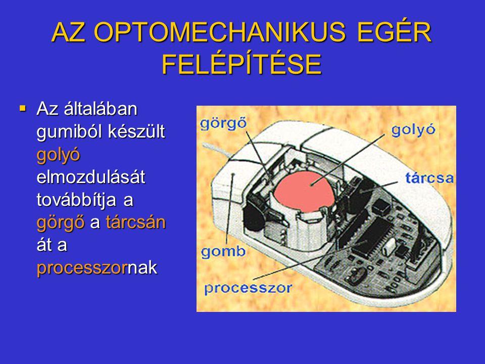 AZ OPTOMECHANIKUS EGÉR FELÉPÍTÉSE  Az általában gumiból készült golyó elmozdulását továbbítja a görgő a tárcsán át a processzornak
