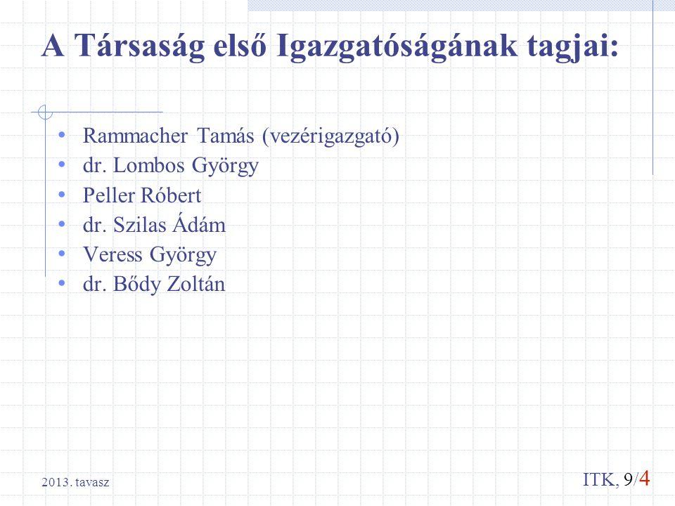 ITK, 9/ 4 2013. tavasz A Társaság első Igazgatóságának tagjai: Rammacher Tamás (vezérigazgató) dr. Lombos György Peller Róbert dr. Szilas Ádám Veress
