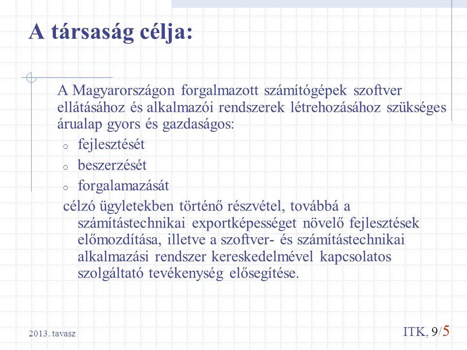 ITK, 9/ 5 2013. tavasz A társaság célja: A Magyarországon forgalmazott számítógépek szoftver ellátásához és alkalmazói rendszerek létrehozásához szüks