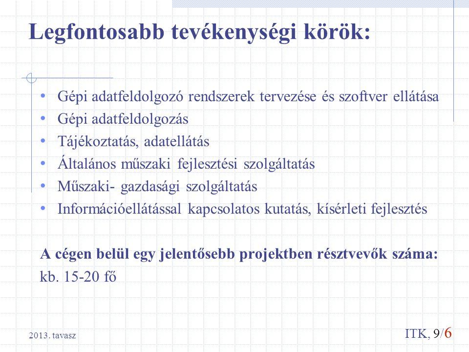 ITK, 9/ 6 2013. tavasz Legfontosabb tevékenységi körök: Gépi adatfeldolgozó rendszerek tervezése és szoftver ellátása Gépi adatfeldolgozás Tájékoztatá