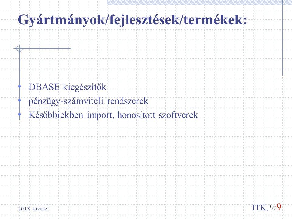 ITK, 9/ 9 Gyártmányok/fejlesztések/termékek: DBASE kiegészítők pénzügy-számviteli rendszerek Későbbiekben import, honosított szoftverek 2013. tavasz