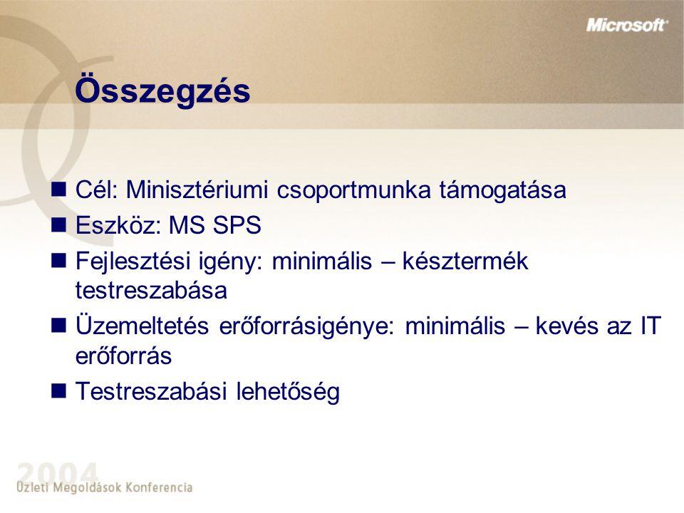 Összegzés Cél: Minisztériumi csoportmunka támogatása Eszköz: MS SPS Fejlesztési igény: minimális – késztermék testreszabása Üzemeltetés erőforrásigény