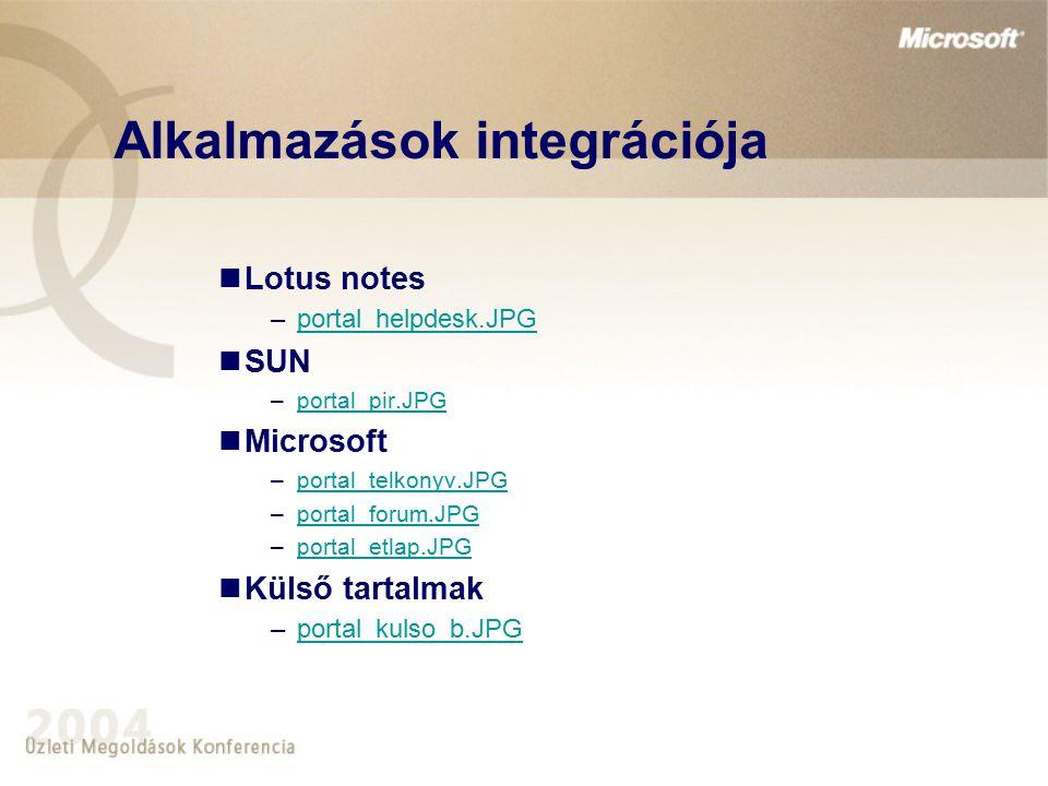 Alkalmazások integrációja Lotus notes –portal_helpdesk.JPGportal_helpdesk.JPG SUN –portal_pir.JPGportal_pir.JPG Microsoft –portal_telkonyv.JPGportal_t