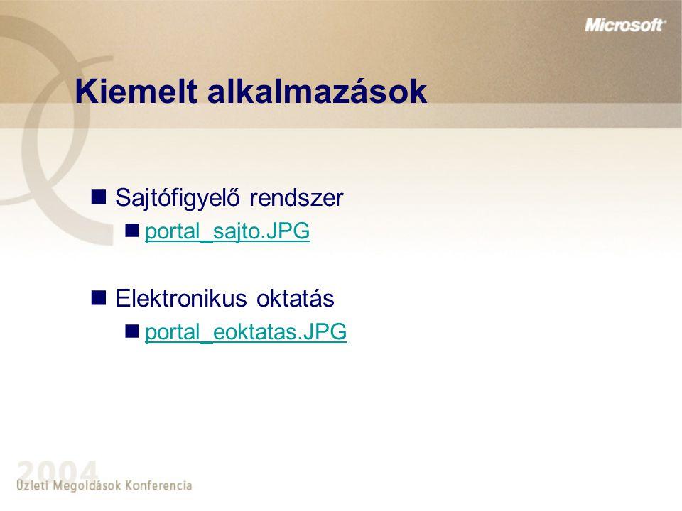 Kiemelt alkalmazások Sajtófigyelő rendszer portal_sajto.JPG Elektronikus oktatás portal_eoktatas.JPG