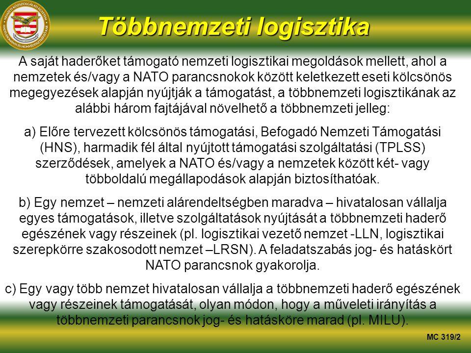 Többnemzeti logisztika A saját haderőket támogató nemzeti logisztikai megoldások mellett, ahol a nemzetek és/vagy a NATO parancsnokok között keletkezett eseti kölcsönös megegyezések alapján nyújtják a támogatást, a többnemzeti logisztikának az alábbi három fajtájával növelhető a többnemzeti jelleg: a) Előre tervezett kölcsönös támogatási, Befogadó Nemzeti Támogatási (HNS), harmadik fél által nyújtott támogatási szolgáltatási (TPLSS) szerződések, amelyek a NATO és/vagy a nemzetek között két- vagy többoldalú megállapodások alapján biztosíthatóak.