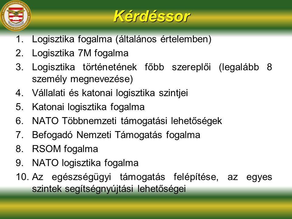 Kérdéssor 1.Logisztika fogalma (általános értelemben) 2.Logisztika 7M fogalma 3.Logisztika történetének főbb szereplői (legalább 8 személy megnevezése) 4.Vállalati és katonai logisztika szintjei 5.Katonai logisztika fogalma 6.NATO Többnemzeti támogatási lehetőségek 7.Befogadó Nemzeti Támogatás fogalma 8.RSOM fogalma 9.NATO logisztika fogalma 10.Az egészségügyi támogatás felépítése, az egyes szintek segítségnyújtási lehetőségei