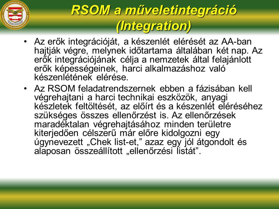 RSOM a műveletintegráció (Integration) Az erők integrációját, a készenlét elérését az AA-ban hajtják végre, melynek időtartama általában két nap.